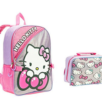 Hello Kitty Backpack for Girls Large 16 with Lunch Bag Glitter Graphics