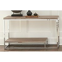 Greyson Living Lennox Chrome and Faux Wood Sofa Table by