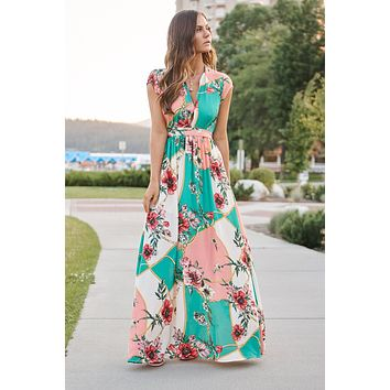 Busy Day Maxi Dress (Teal Multi)