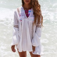 Sunset Blvd. White Lace Trim Tunic