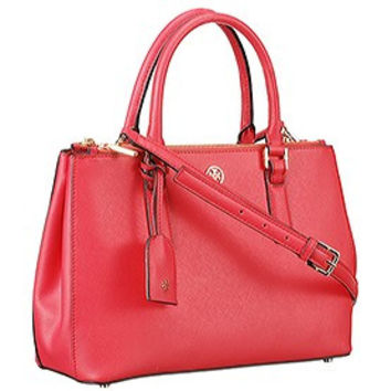 Tory Burch Robinson Double Zip Red Tote