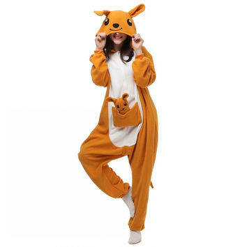 Unisex Adults Yellow Kangaroo Cartoon Costume Pajama Halloween Christmas Onesuits Unisex Teenagers Famous Cartoon Lounge Wear