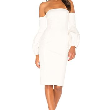 Raven Off Shoulder Midi Bodycon Dress