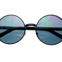 Stylish Black Metal Retro Vintage Circle Round Sunglasses R1813