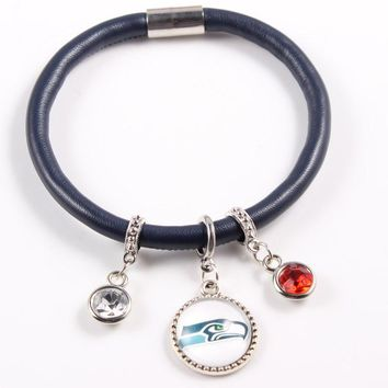 Seattle Seahawks Charms Bracelet US Football Leather Bracelet With  Magnetic Buckle Bracelets & Bangles For Women & M