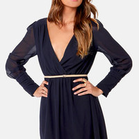 On the Wrap Navy Blue Long Sleeve Dress