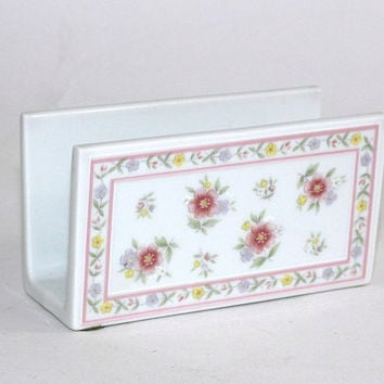 Vintage Envelope Holder Desk Set | Shabby Chic Pink Flowers on White Porcelain Made in Japan | Lady's Desk Set Floral Envelope Holder