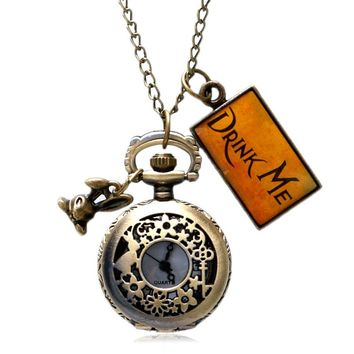Bronze Quartz Pocket Watch Chain Hollow abbit Flower Surface Vintage Drink Me Tag Alice In Wonderland Women Gift Half Hunter
