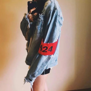 Winter Ladies Ripped Holes Denim Jacket [9245969220]