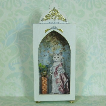Miniature Shadow Box in Palest Blue with Cat and Pedestal