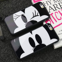 New Cute Couples Mickey and Minne Acrylic Mirror TPU Mobile Phone case for iphone 5 5s 6 6s 6S Plus Cover back with chain