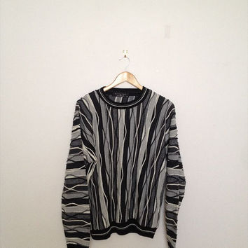 Vintage 80's Unisex Black Multi coloured Zig Zag Stripe Cosby/Hip hop Acrylic Sweater Coogi style *