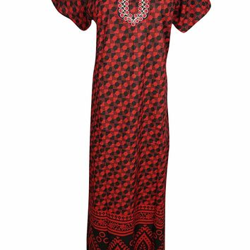 Mogul Interior Womens Maxi Dress Neck Embroidered Cotton Summer Nightgown XL (Black-Red): Amazon.ca: Clothing & Accessories