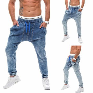 2018 Hip Hop Streetwear Blue Jeans Haren Pants Male Jeans Demin Trousers Sweatpants Denim Long Pants Joggers Men Plus Size  4XL
