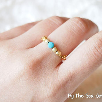 Swarovski turquoise beads gold plated beads Wire Wrapped-simple everyday ring -dainty ring