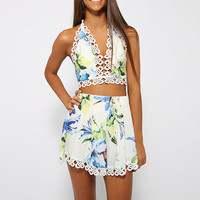 Floral Lace Embroidered Halter Cropped Top Pleated Mini Skirt Set