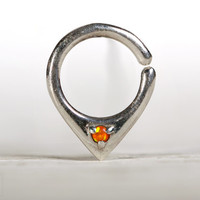 Opal Septum Ring Nose Ring Body Jewelry Sterling Silver with Orange Opal Bohemian Fashion Indian Style 14g 16g - SE034R SS OP30