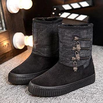 On Sale Hot Deal Winter Patchwork Thick Crust Boots [79791554585]