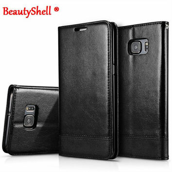 BeautyShell Brand High Quality PU Leather Wallet Case With Strap Stand Flip Cover for Samsung S6 S7 S7edge note5 Holder Cover