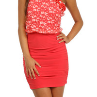 Flower Lace Bodycon Dress - Coral