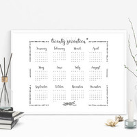 Year calendar 2017, Printable calendar, At a glance calendar 2017, Yearly wall calendar, Large calendar, Calender 2017, Big wall calendar