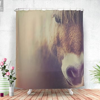 The curious girl, shower curtain, horse, horse shower curtain, beautiful horse, wild, nature decor, animal decor, home decor, cute, photo.