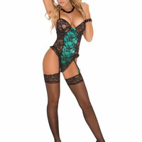 Lace Teddy with Garters