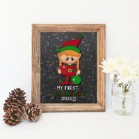 My First Christmas Printable Art Print Babies first Christmas sign Christmas Decor Christmas Printable Christmas Wall art Baby Girl Elf Sign