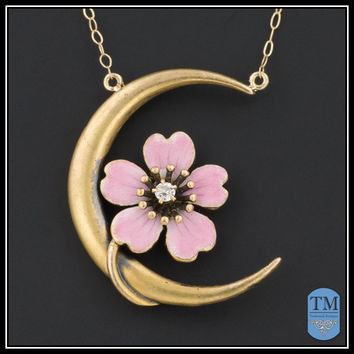 Antique Enamel Dogwood Flower & Moon Necklace, 14k Gold & Diamond, Art Nouveau