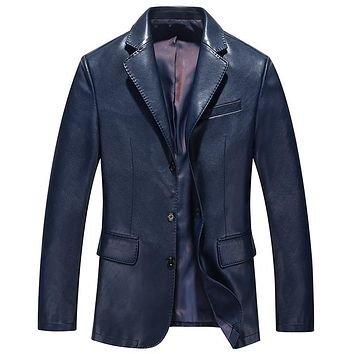 Spring Casual Blazer Collar Slim Men Jacket Leather