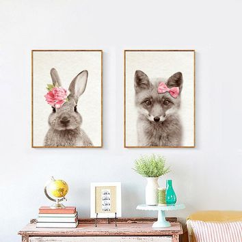 Red Flowers Deer Kawaii Animals Rabbit Art Prints Poster Nursery Wall Picture Bunny Canvas Painting Kids Room Decor FG0089B