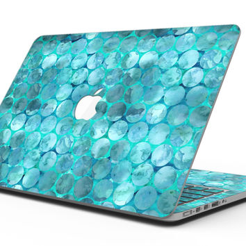 Aqua Sorted Large Watercolor Polka Dots - MacBook Pro with Retina Display Full-Coverage Skin Kit