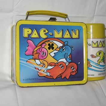 vintage 1980 aladdin pac man metal lunchbox and thermos