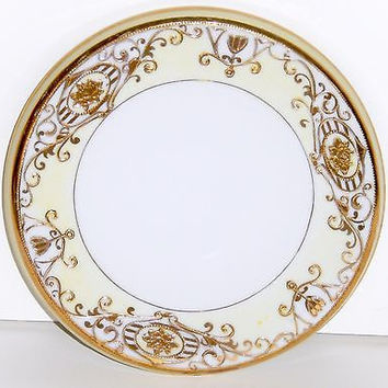 Antique Christmas Ball Noritake Porcelain Hot Plate Morimura #16034 Gold Gilt