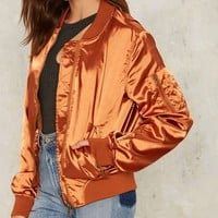 Let it Satin Bomber Jacket - Orange