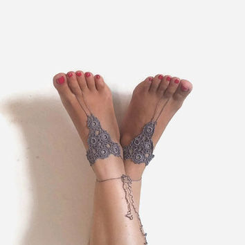 CHRISTMAS Gray Barefoot Sandals , Crochet Barefoot Sandals - Nude Foot Jewelry - Summer Yoga Beach Sandals Crochet Anklet