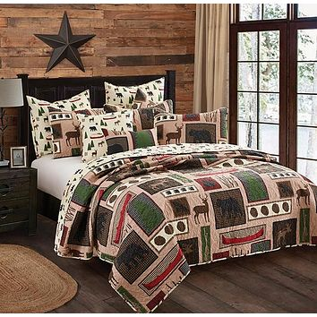 Deers and Bears Lake Living Quilt Bedspread - 3 Piece Set