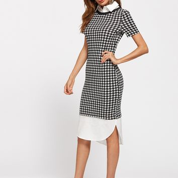 Contrast Collar And Curve Hem 2 In 1 Dress