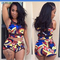 2017 Women High Waist Bikini Set Print Floral Swimsuit Push Up Swimwear High Waist Bathing Suit African Print Two Piece Biquini-03127