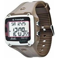 Freestyle FS84953G Men's Stride 50-Lap Digital Grey Dial Brown Rubber Strap Alarm Chrono Watch