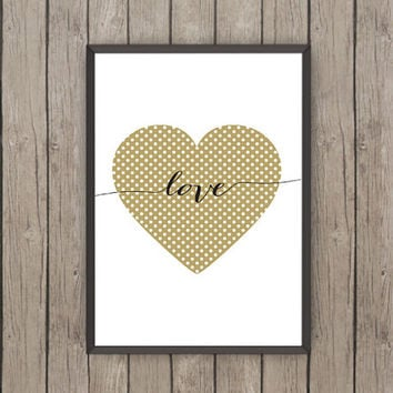 Love Heart Poster Print, Printable Art, Typographic Art, Poster Art, Printable Wall Poster, Scandinavian Print