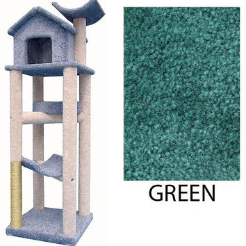 "Cat Treehouse - Green (Green) (77""H x 25""W x 30""D)"