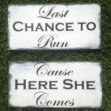 Daddy, Here Comes Your Bride, You're One Lucky Guy - 2 signs HERE comes the BRIDE - Wedding Sign, Ring Bearer Sign