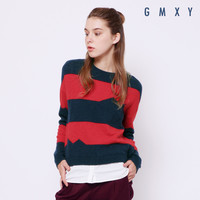 Women's new splicing knitted jumper