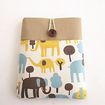 Elephant Ipad case, Ipad cover, Ipad sleeve, Padded, Ipad 2, Ipad 3 and Ipad Air- Pocket.