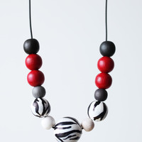 White black zebra stripes beaded necklace, black crimson red, wild inspired statement necklace, wood hand painted beads