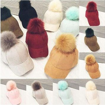 Baseball Caps New Women Faux Fox Fur Pompom Ball Suede Adjustable Baseball Cap Hip Hop Hat Uk