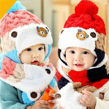 Baby Hat Baby Boys Girls Cartoon Knit Ear flap Hat Newborn Striped Woolen Hats Infant Warm Beanies Caps + Scarf Twinset