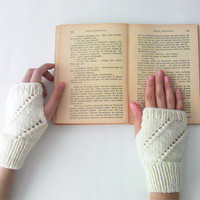 Hand Knit Fingerless Gloves in Ivory - Arm Warmers - Womens Seamless Knit Gloves - Winter Fashion
