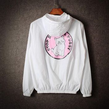 ICIKB3R Couples tide male and female sun clothing cartoon cat windbreaker coat White